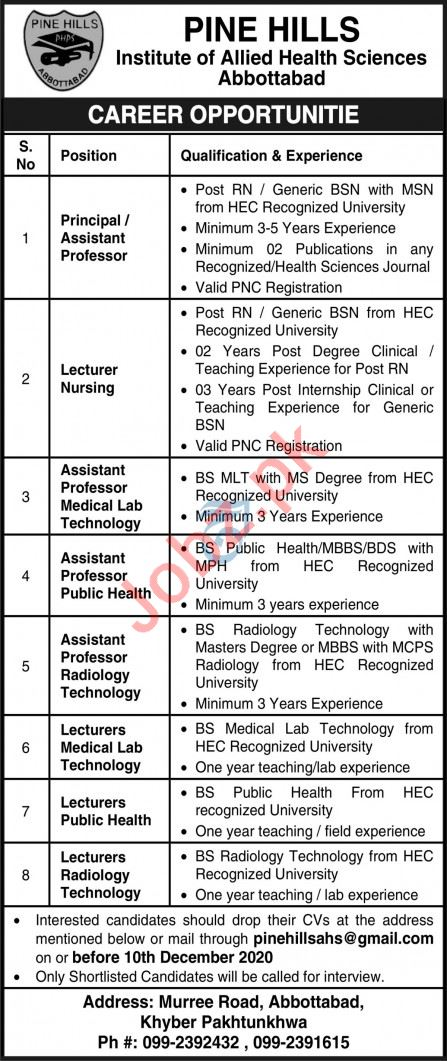 Pine Hills Institute Allied Health Sciences Abbottabad Jobs