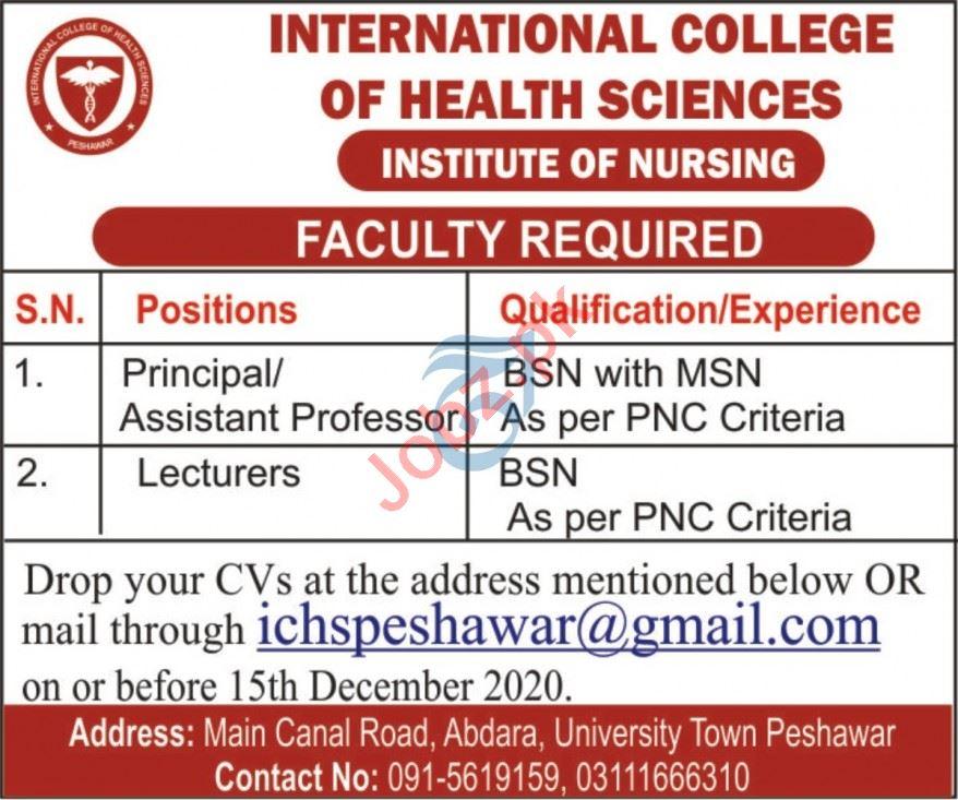 International College of Health Sciences ICHS KPK Jobs 2020