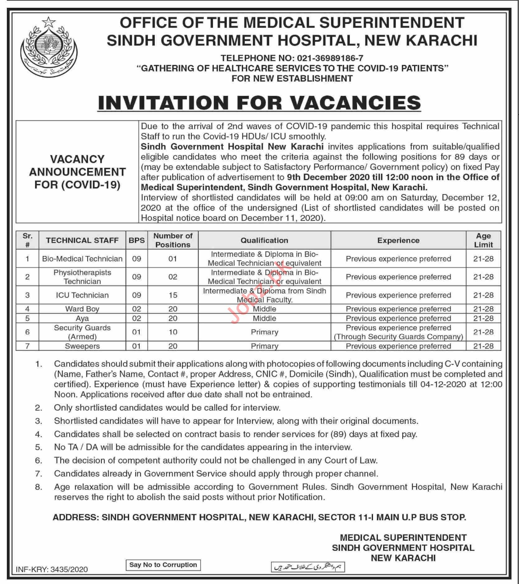Sindh Government Hospital New Karachi Jobs for Technicians