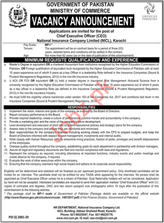 National Insurance Company NICL Karachi Jobs 2020 for CEO