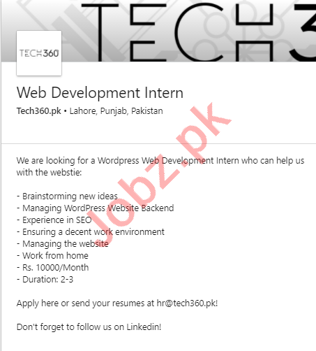 Tech360 Lahore Jobs 2020 for Web Developer Intern