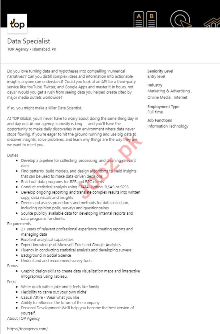 TOP Marketing Agencies Islamabad Jobs 2020 Data Specialist