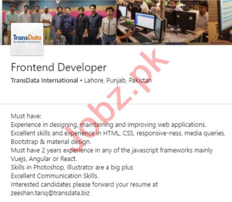 TransData International Lahore Jobs 2020 for Web Developer