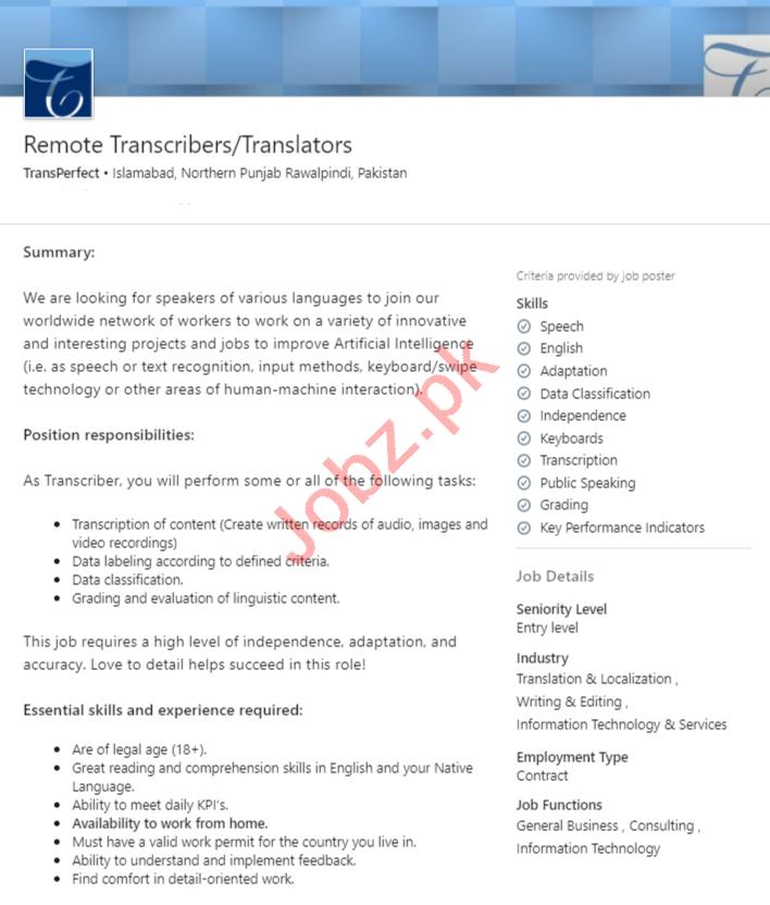 TransPerfect Islamabad Jobs 2020 for Translators