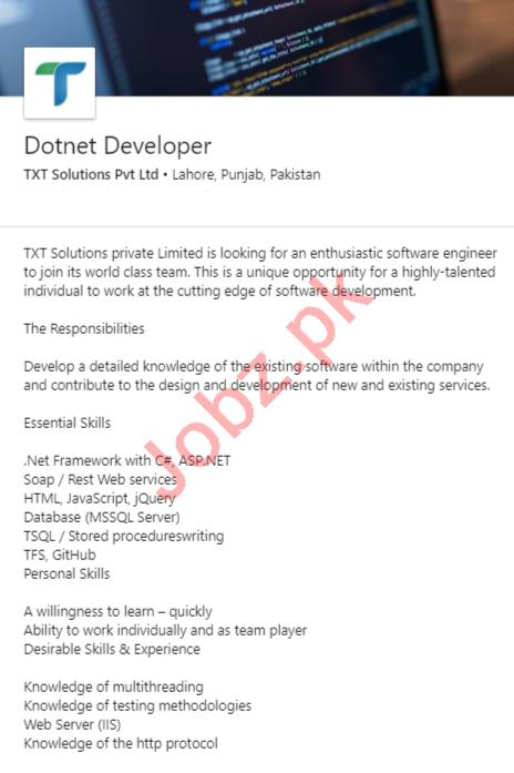 TXT Solutions Lahore Jobs 2020 for Dotnet Developer