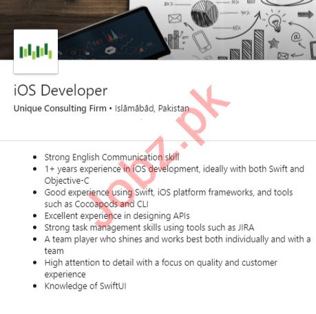Unique Consulting Firm Islamabad Jobs 2020 iOS Developer