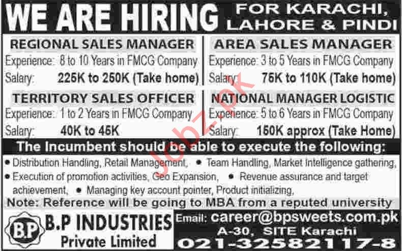 Regional Sales Manager & National Manager Logistics Jobs
