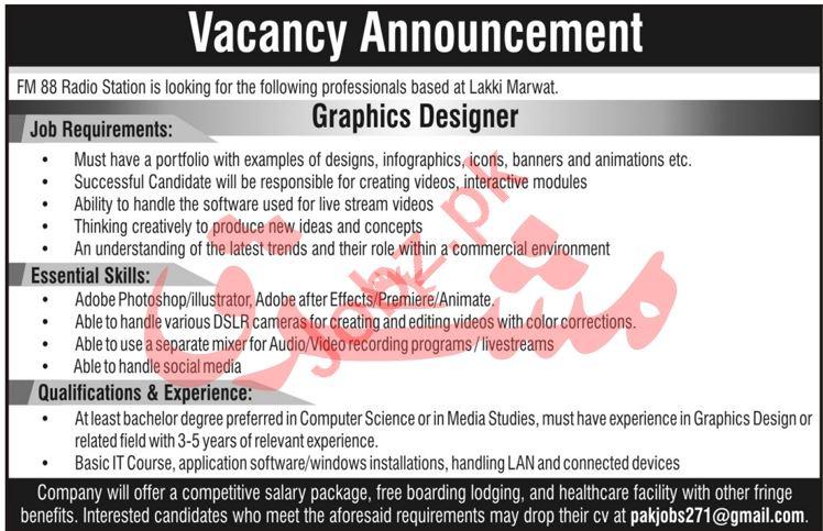 Graphic Designer Jobs 2020 FM 88 Radio Station Lakki Marwat