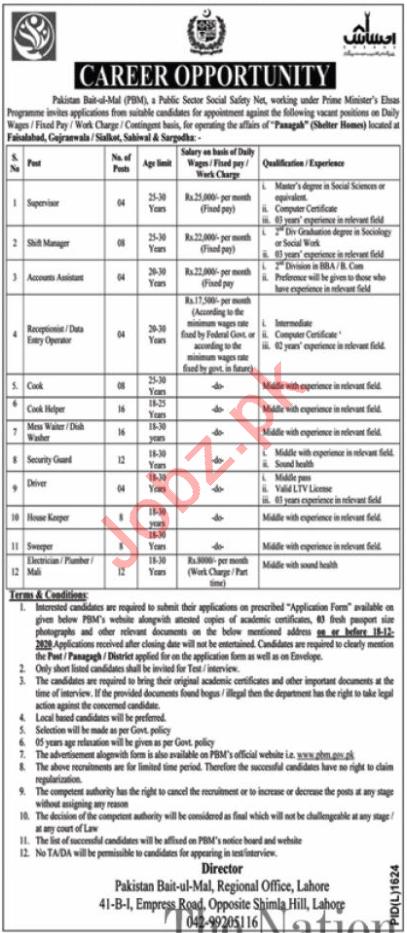 Pakistan Bait ul Mal PBM Punjab Jobs 2020 for Shift Manager