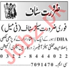 Sales Consultant & Sales Manager Jobs 2020 in Lahore