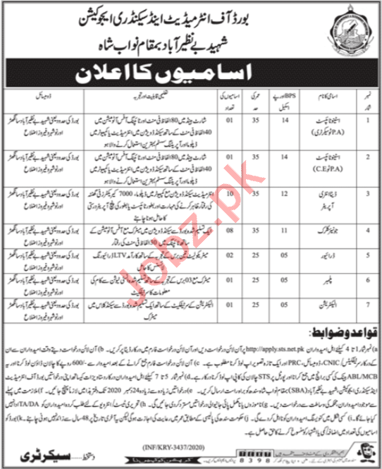 Board of Intermediate & Secondary Education BISE Jobs 2020
