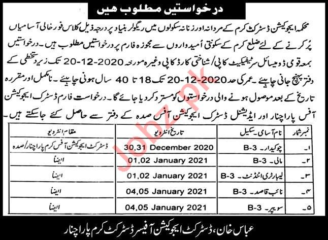 District Education Office Kurram Parachinar Jobs 2021