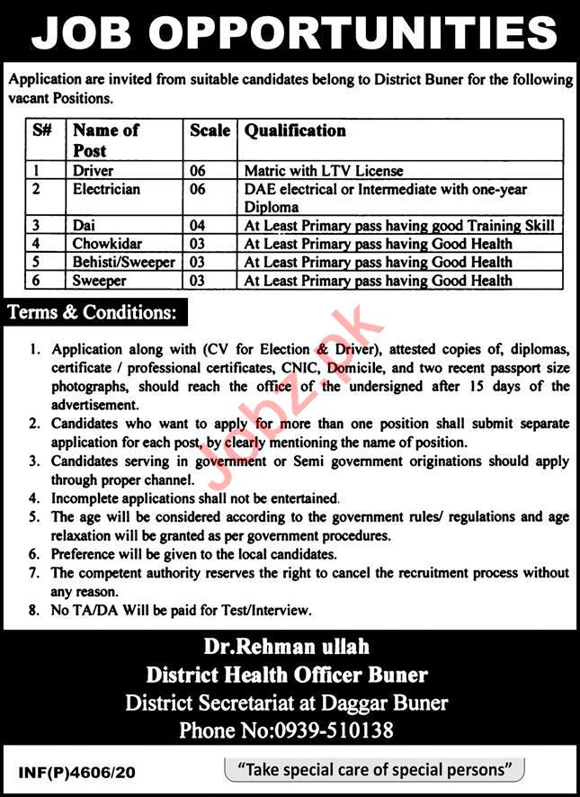 District Health Office DHO Buner Jobs 2020 for Drivers