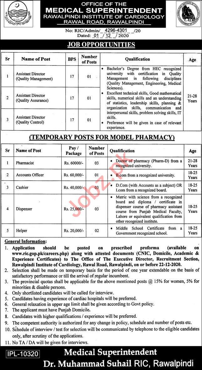 Rawalpindi Institute of Cardiology Jobs 2020 for Directors