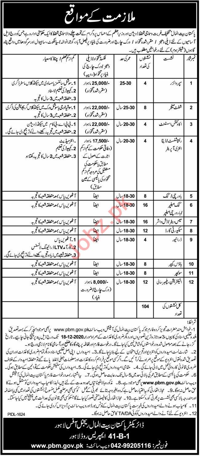 Pakistan Bait ul Mal PBM Jobs 2020 for Manager & Supervisor