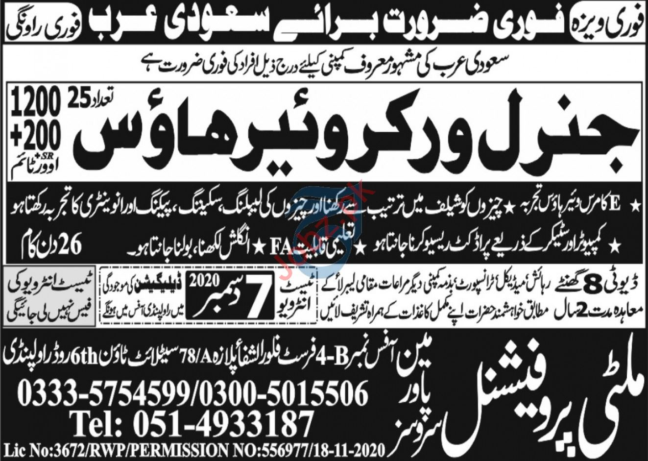 General Worker Warehouse Jobs 2021 in Saudi Arabia