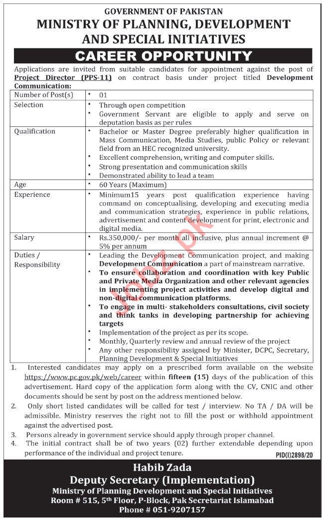 Ministry of Planning Development Jobs 2020 Project Director