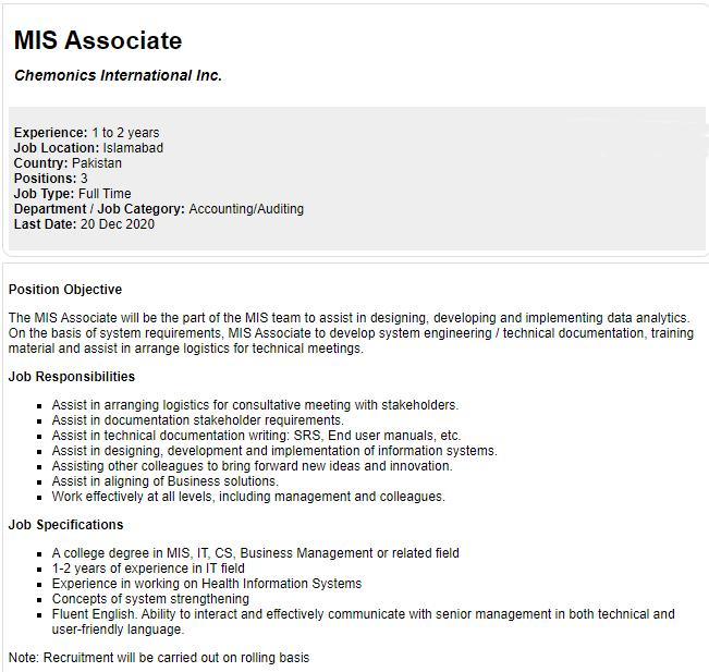 Chemonics International Pakistan Jobs 2020 MIS Associate