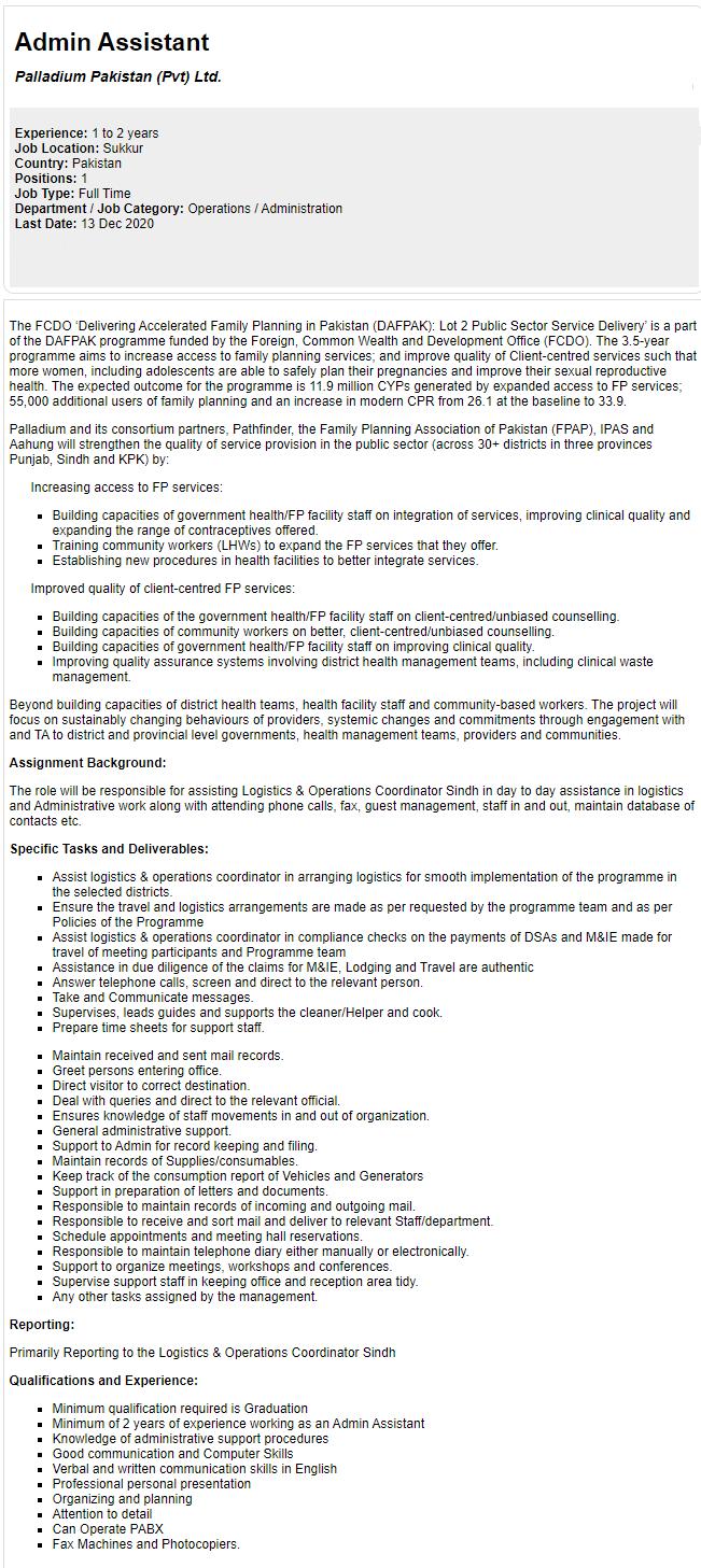 Palladium Pakistan Jobs 2020 for Admin Assistant