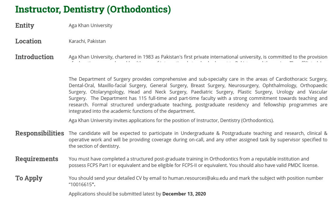 Aga Khan University AKU Jobs 2020 for Instructor Dentistry