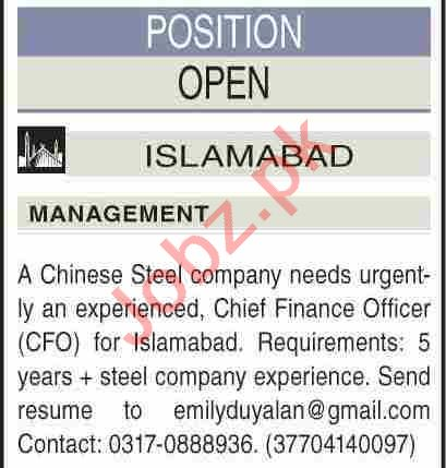 CFO & Chief Financial Officer Jobs 2020 in Islamabad