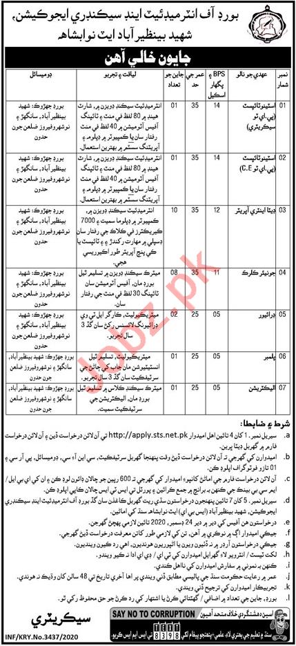 Junior Clerk & Stenotypist Jobs 2020 in BISE Nawabshah