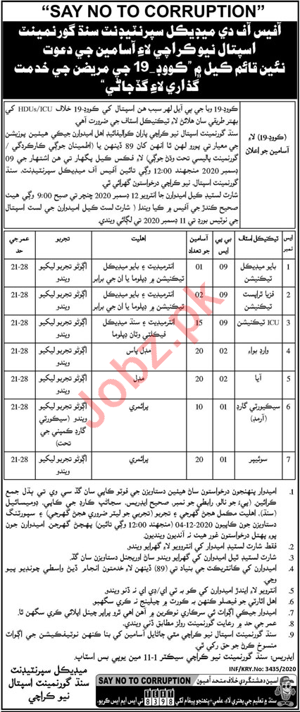 Technicians Jobs 2020 Sindh Government Hospital New Karachi