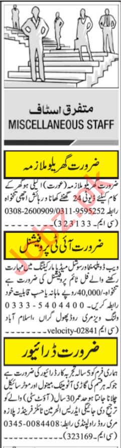 Computer Programmer & Driver Jobs 2021 in Islamabad