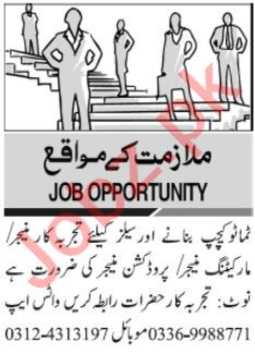 Production Manager & Sales Manager Jobs 2021 in Karachi