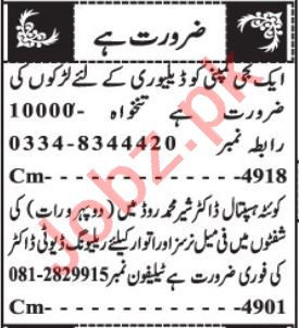 Lady Doctor & Gynecologist Jobs 2020 in Quetta