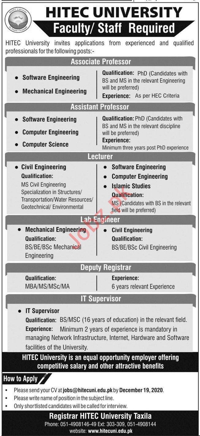 HITEC University Jobs 2020 for Professors & Registrars