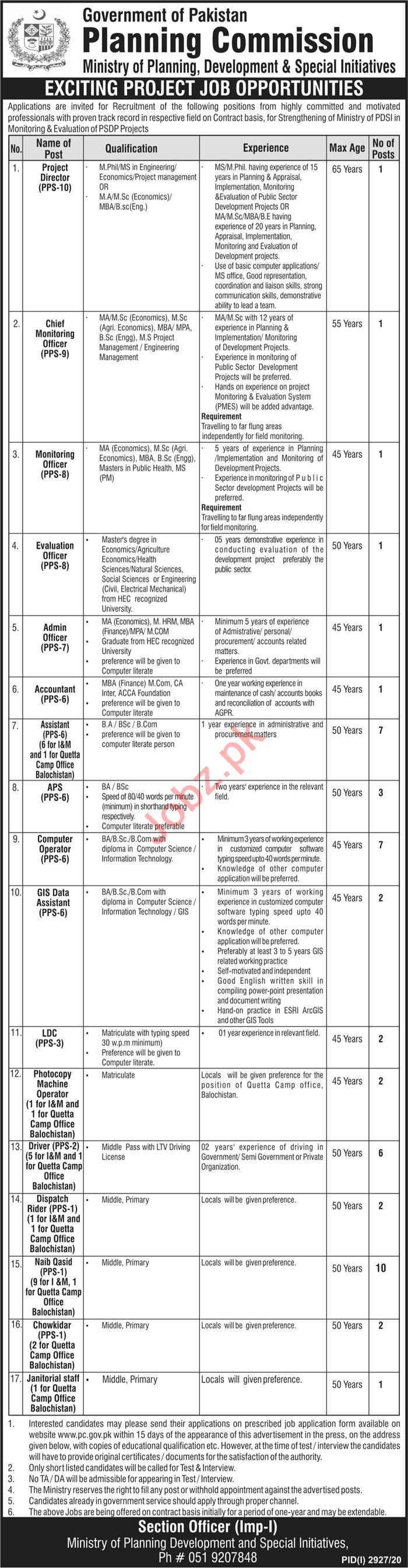 Planning Commission PC Islamabad Jobs 2020 for Director