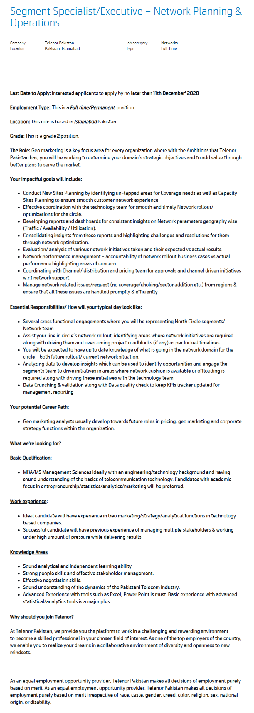 Segment Specialist & Segment Executive Jobs 2020