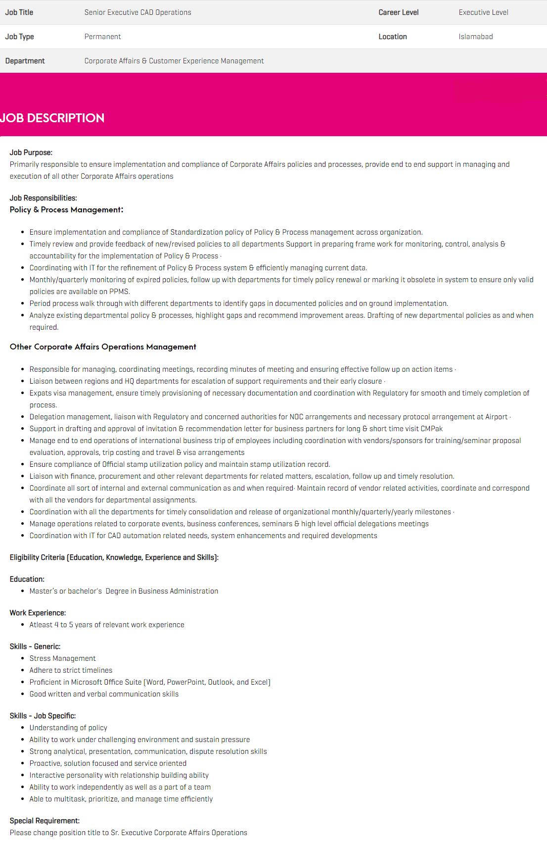 Senior Executive CAD Operations Jobs 2020 in Islamabad