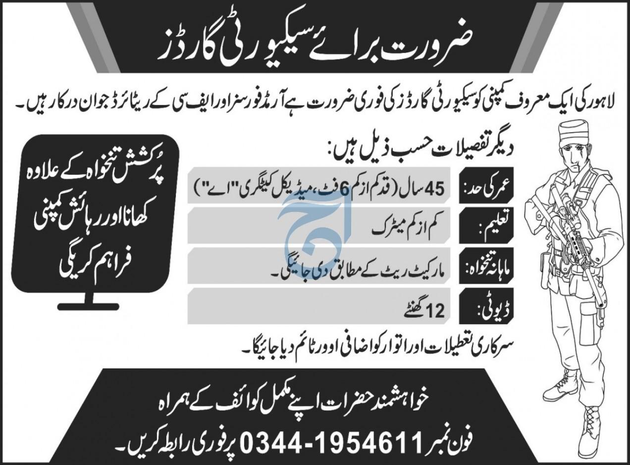 Secuiryt Guard Jobs 2020 in Peshawar