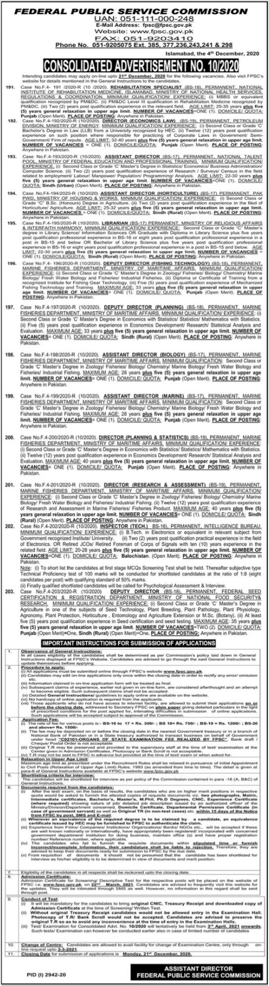 Federal Public Service Commission FPSC Jobs 2020