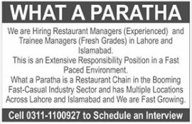 Restaurant Managers & Trainee Managers Jobs 2020