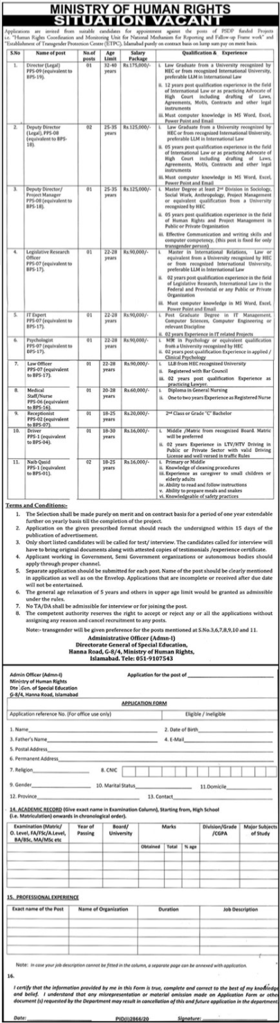 Ministry of Human Rights Jobs 2020 in Islamabad