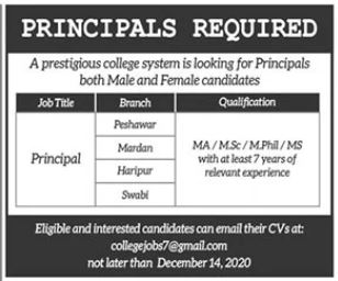 Principals Jobs 2020 For College System