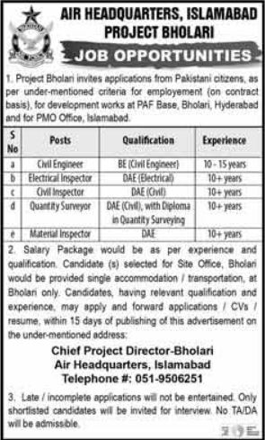 Air Headquarters Jobs 2020 For Engineering Staff