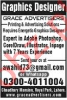 Grace Advertisers Lahore Jobs 2020 for Graphic Designer