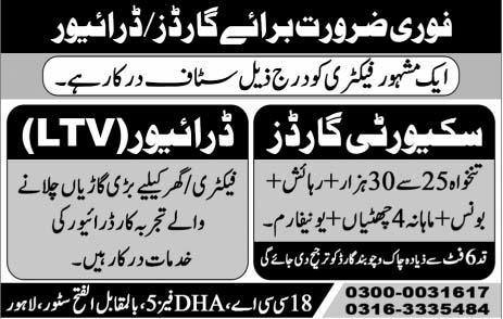 Factory Workers Jobs 2020 in Lahore