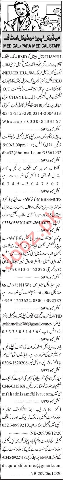 Jang Sunday Classified Ads 6 Dec 2020 for Medical Staff