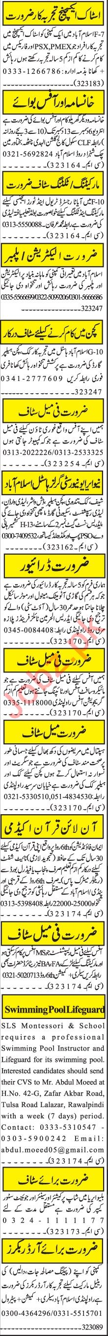 Jang Sunday Classified Ads 6 Dec 2020 for Management Staff