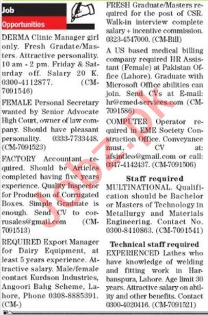 The News Sunday Classified Ads 6 Dec 2020 for Management