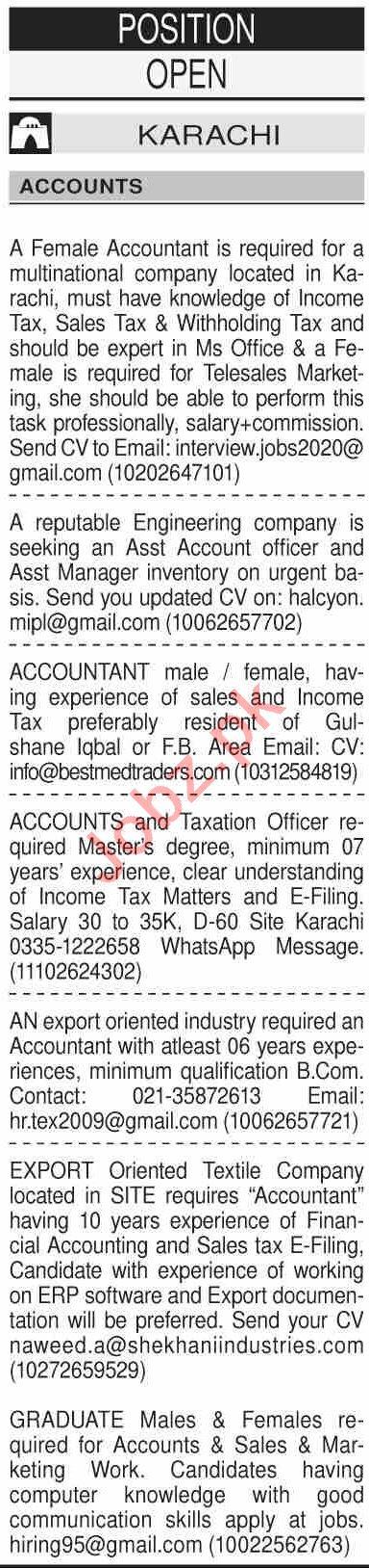 Dawn Sunday Classified Ads 6 Dec 2020 for Accounts Staff