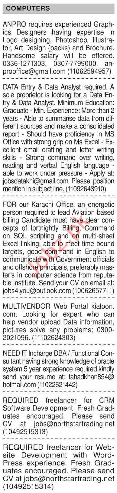 Dawn Sunday Classified Ads 6 Dec 2020 for Computer Staff