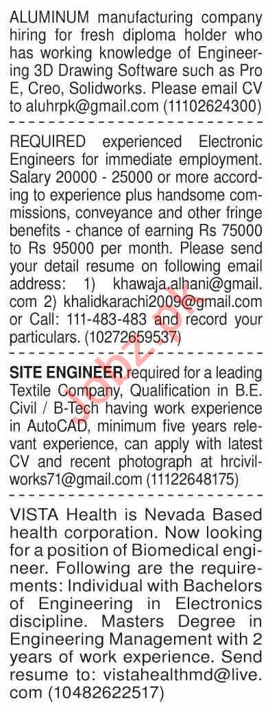 Dawn Sunday Classified Ads 6 Dec 2020 for Engineering Staff