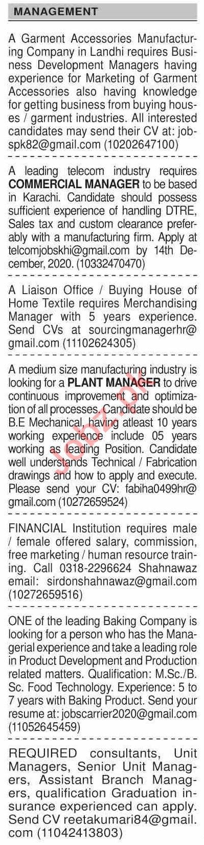 Dawn Sunday Classified Ads 6 Dec 2020 for Management Staff