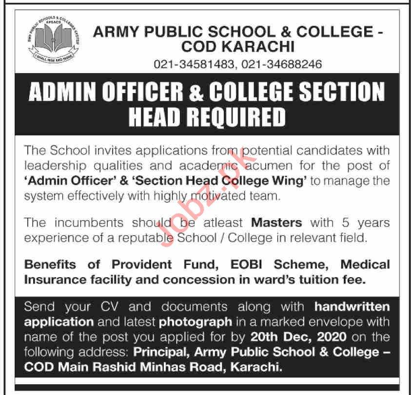 Army Public School & College COD Karachi Jobs 2020